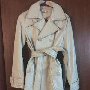Long Ivory Leather Trench Coat